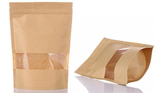 50 Stand Pouch Kraft Janela 12x19,7 + 5,5cm Ziplock Líquido