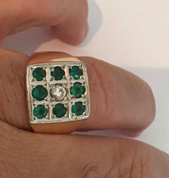 Anel Masculino De Esmeralda E Diamante Em Ouro 18k