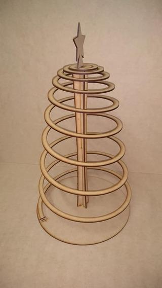 Arbolito De Navidad Mdf+fibrofacil Modelo Espiral 50 Cm Altu
