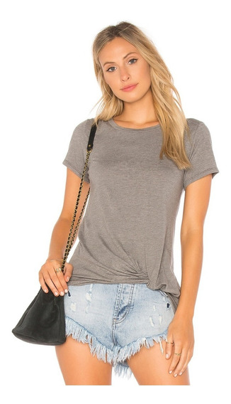 Camiseta Feminina T-shirt Básica Decote Canoa Viscolycra