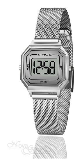 Relógio Lince Digital Feminino Retrô Prata Sdph130l