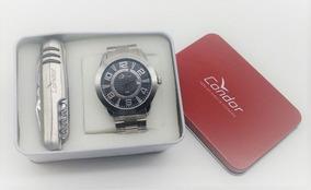 Kit Relógio Condor Aço Prata Visor Preto Co2115trx/k3c