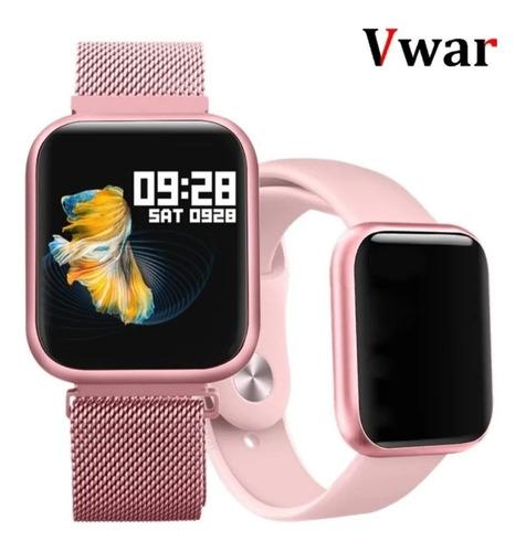 Imagem 1 de 7 de Relógio Smartwatch P80 Rosê C/2 Pulseiras Original Da Fit