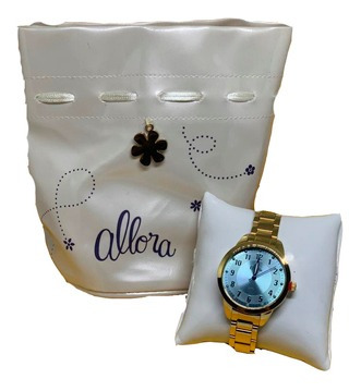 Relógio Feminino Allora Analógico Dourado Tendencia
