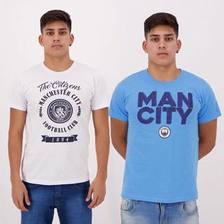 Kit De 2 Camisetas Manchester City I Azul E Branca