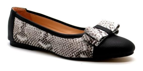 Zapatos Mujer Balerinas Chatitas Bajas Cuero Negro Leblu 859