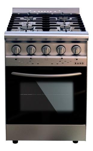 Imagen 1 de 2 de Cocina Industrial Saho Jitaku 550 Multigas 4 Hornallas  Acero Inoxidable Puerta  Con Visor