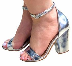 b0dc56b2c Sandalia Salto Quadrado Prata Festa - Sapatos no Mercado Livre Brasil
