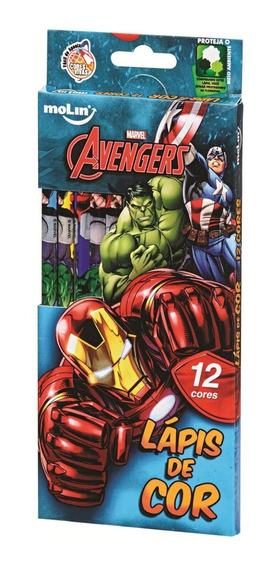 Lápis De Cor Molin Avengers Com 12 Cores - Estampa Diversas
