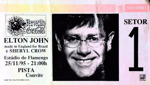 Ingresso 1ª Vez Elton John Brasil 1995 Rocketman No Flamengo