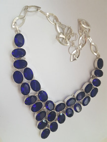 Maxi Colar Cristal Azul Safira Prata