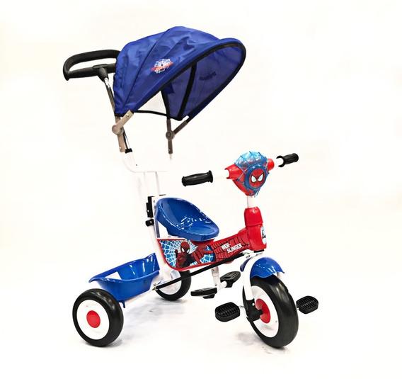 Triciclo Con Manija Canasto Y Capota Spiderman Dencar @ Mca