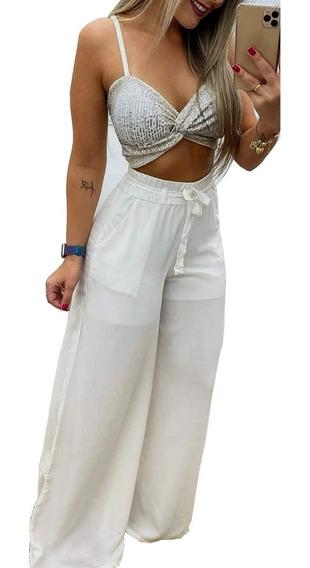 Calça Pantalona Elástico Branca Social Molinha Forro Bolso