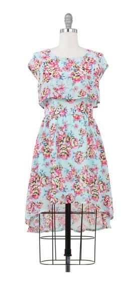Vestido Floral Tail Hem, Corto, Con Capa En Escote, Fresco.