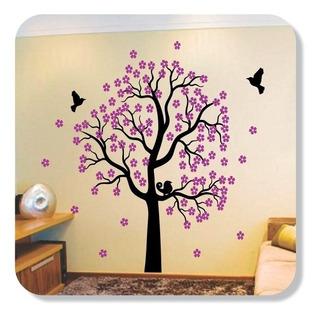Árvore Adesiva Florida Decorativa Tamanho Grande Pássaros