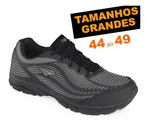 Tênis Ms Runner Preto Tamanhos Grandes 44 45 46 47 48 49