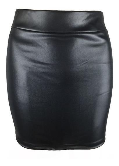 Moda Mujer Sexy Mini Falda Color Slido Cuero De La Pu