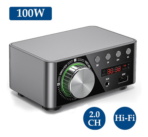 Hifi Bt5.0 - Amplificador Digital Mini Estéreo De Audio (100