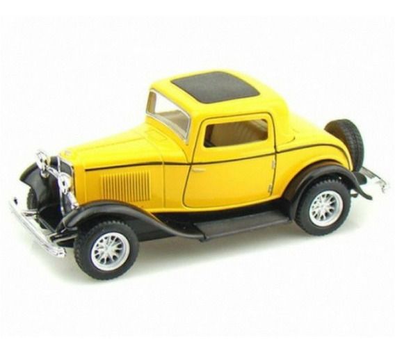 1932 Ford 3 Window Coupe Kinsmart Escala 1/34 Amarelo