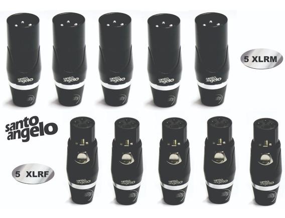 Kit Com 5 Plugs Xlrm + 5 Xlrf Sas3 Pro Santo Angelo