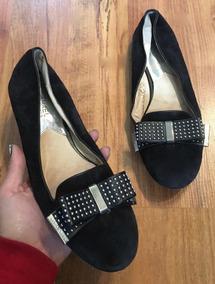Zapatos Flats Ugg Ribbon Piel Suede Negros Moño 24 Originale
