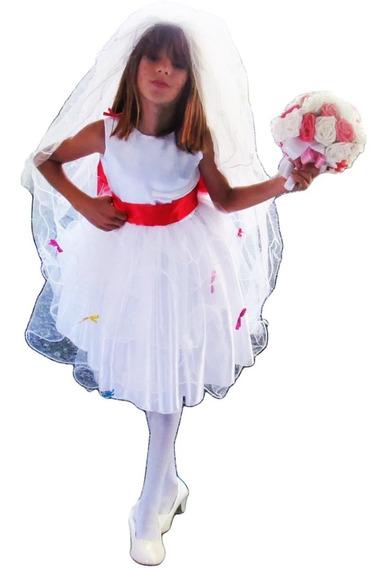 Vestido De Festa Noiva Junina Caipira Infantil Luvas E Véu