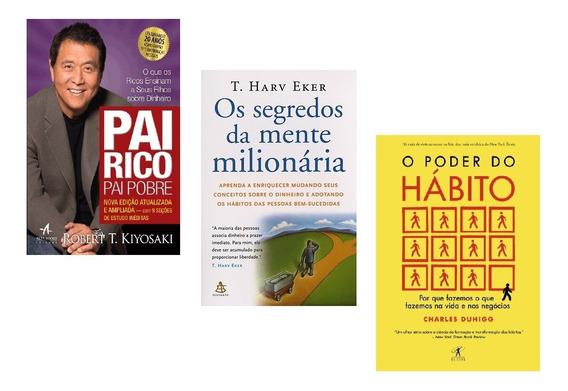 Kit Livros Pai Rico + Segredos Da Mente + Poder Do Hábito #
