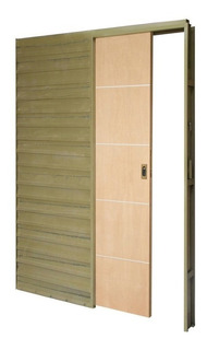 Puerta Placa Corrediza Embutir Cedro Apliques Aluminio 70-10