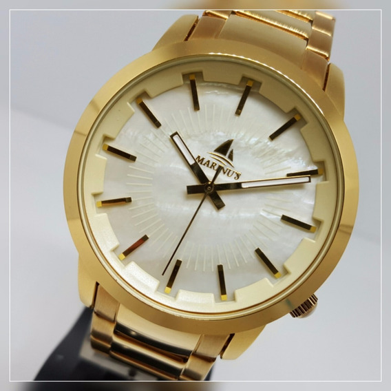 Relógio Marinus Unissex Grande Dourado Fundo Branco G3268