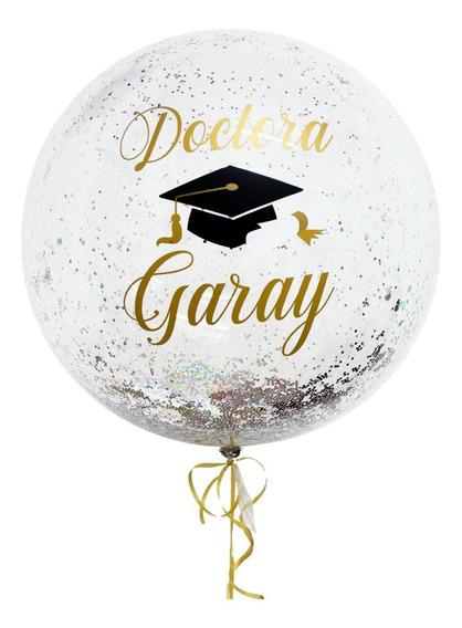 Globo Graduación Personalizado Burbuja Cristal Bubble Helio