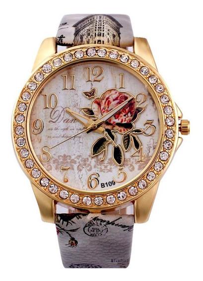 Relógio Feminino De Flor Com Strass Dourado Frete Grátis