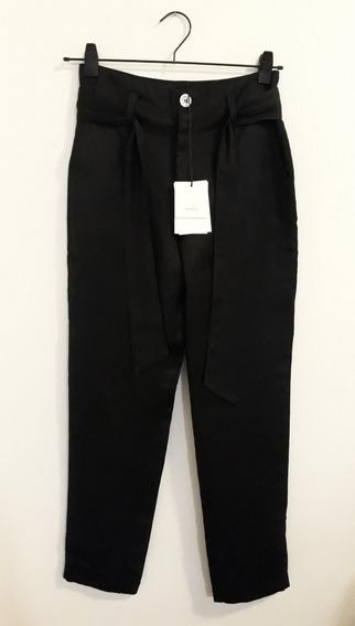 Pantalón Negro Tiro Alto Ayres Talle 38/xs Con Lino