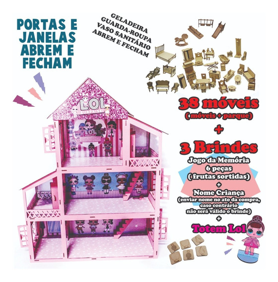 Casa Casinha Boneca Polly Rosa Branca +34 Peças Mdf Móveis
