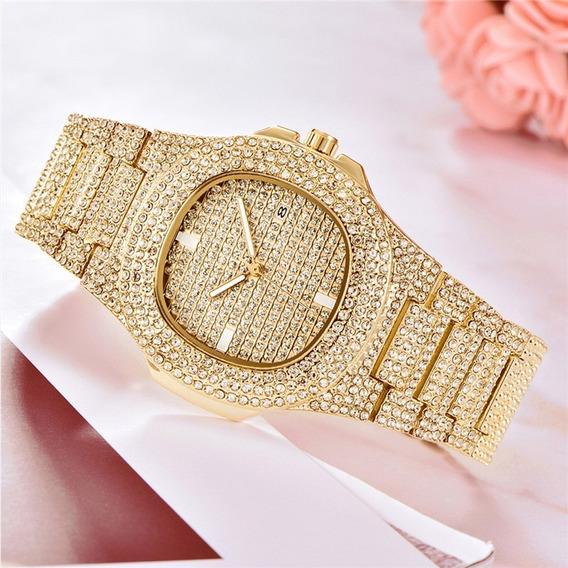 Relógio Prata Dourado Cravejado Zirconia Unissex
