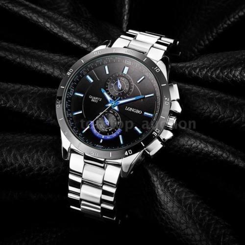 Relógio De Aço Analógico Masculino Longbo Azul