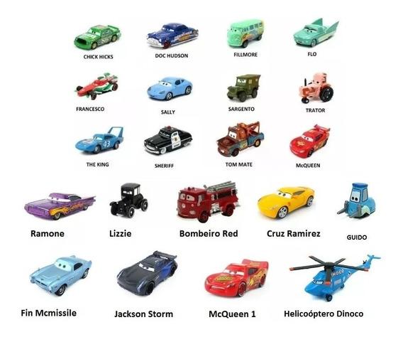Kit 10carros Do Filme Relâmpago Mcqueen Carros Disney Mattel