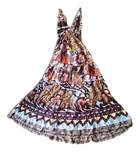 Vestido Largo Marrón Hindú Mujer