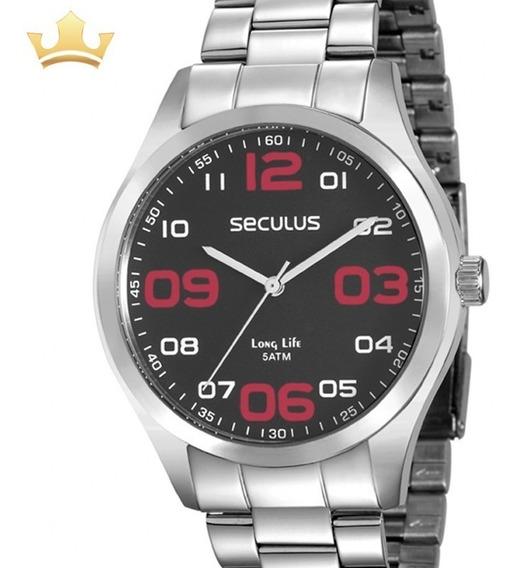 Relógio Seculus Masculino Analógico Prata Original + Nf