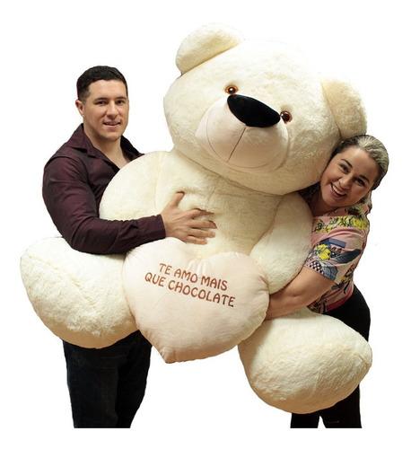 Imagem 1 de 7 de Super Urso Big Teddy Creme Branco Pelúcia Gigante 130x90 Cm