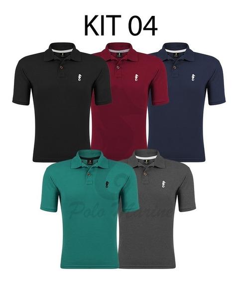 5 Camisa Polo Marine Masculina Slim Fit Algodão Várias Cores