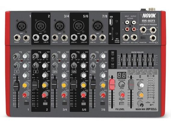 Mesa De Som Novik Mixer Nvk802fx 8 Canais Usb Mp3 Efeito