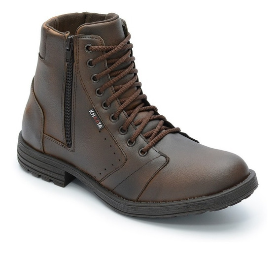 Bota Masculina Sapato Coturno Casual Com Zíper Ref:8012