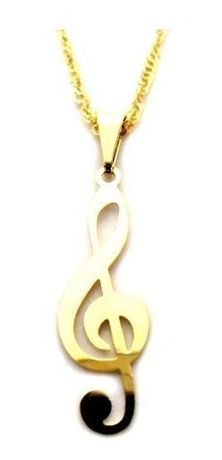 Colar Corrente E Pingente Musica Clave De Sol Folheado Ouro