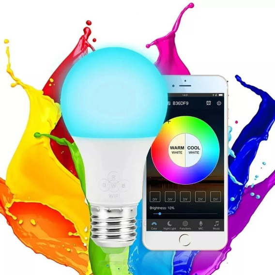Lâmpada Inteligente Led Rgbww Colorida Wifi Voz Google Alexa