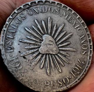 Moneda $1 Peso Durango Muera Huerta 1914 Excelente Plata