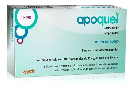 Apoquel Dermatológico Cães 16 Mg - 20 Comp. Val. Agosto/20