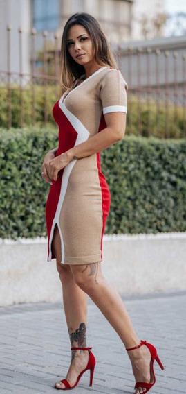 Vestido Curto De Tricô Fashion Bicolor Cód.64 Tricot