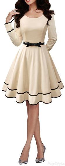 Vestido Midi Manga Longa Moda Evangelica Com Laço Cod#323