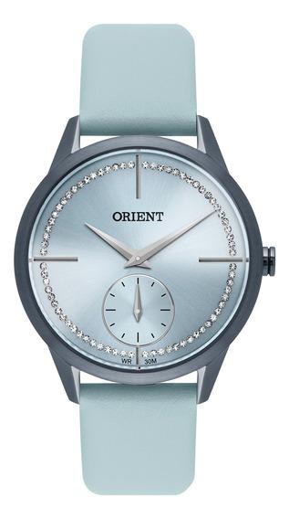 Relógio Orient Feminino Azul Couro Pedras Fasc0001 A1ax