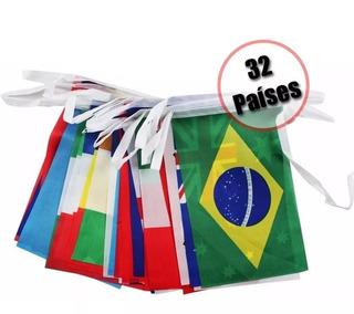Varal Bandeiras 32 Países Tecido Enfeite Copa Olimpíadas 9m